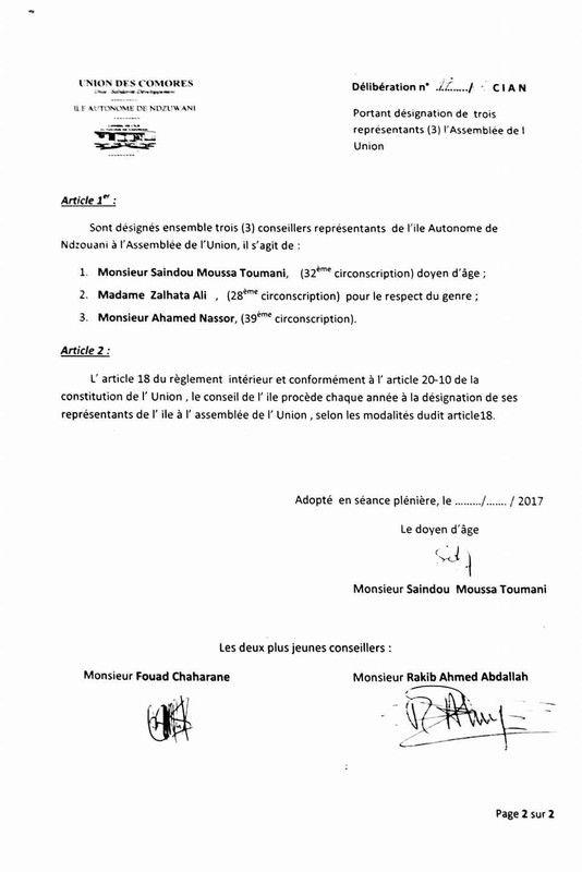 PV statuant sur les députés du conseil de l'île d'Anjouan!